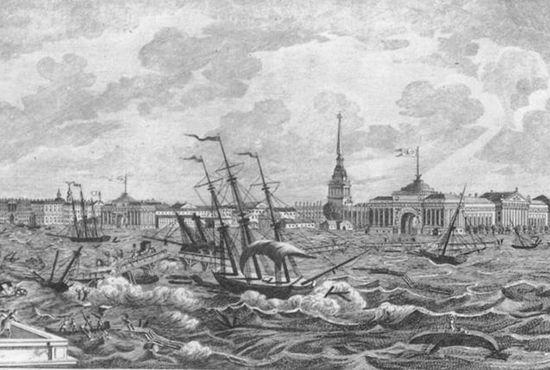 Жуткое наводнение в Петербурге в 1824 году