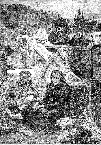 «Нелегкая доля вдовы». Иллюстрация из журнала «Arthur's Ноте Magazine» конца XIX века