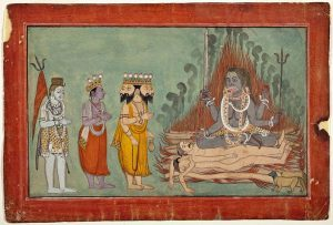 Shiva_Vishnu_and_Brahma_Adoring_Kali_ca._1740_BasohliLACMA