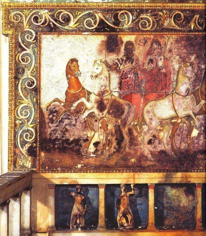 Плутон и Персефона на колеснице. Роспись на спинке мраморного трона