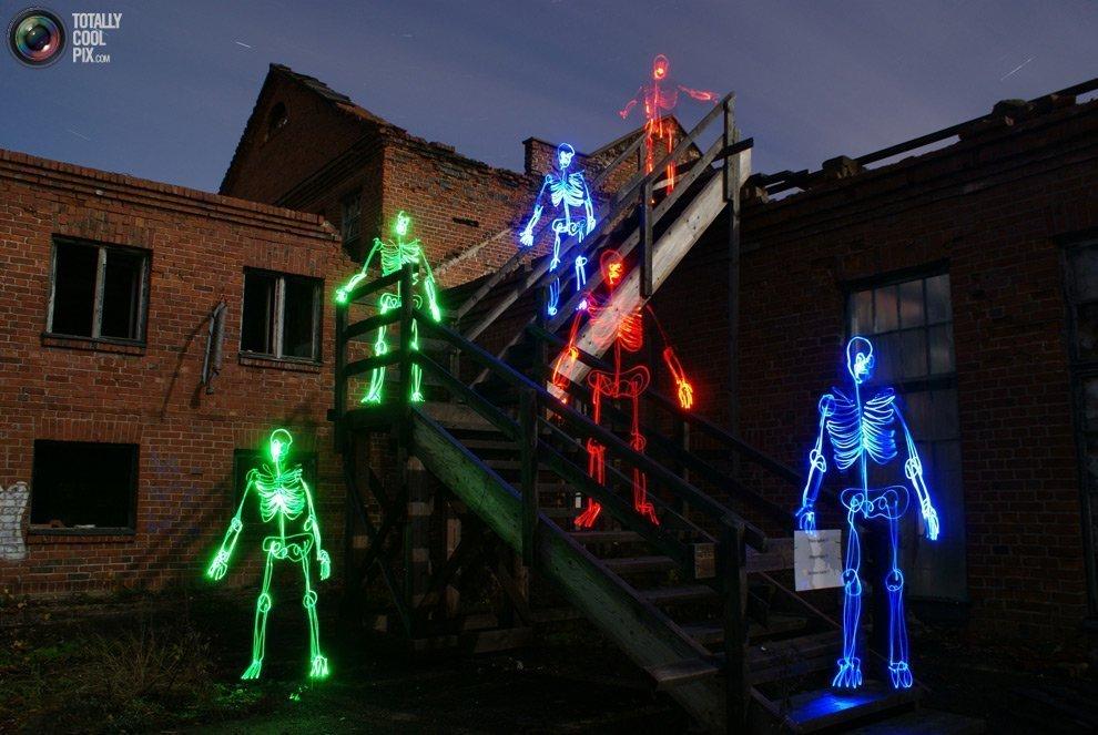 световые граффити скелетов, Light Painting, Янне Парвяйнен, Janne Parviainen
