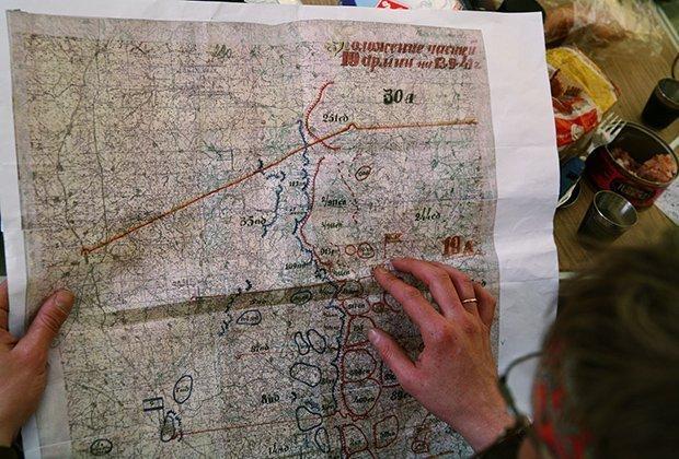 Принт военной карты местности 1941 года