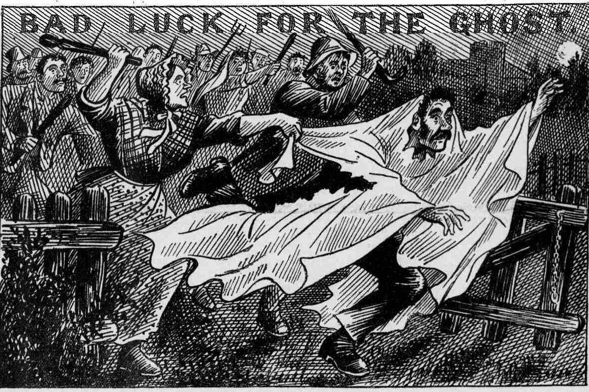 Шутника в костюме призрака избивают недовольные граждане. Девон, Англия, 1894 год. Иллюстрация в газете Police News