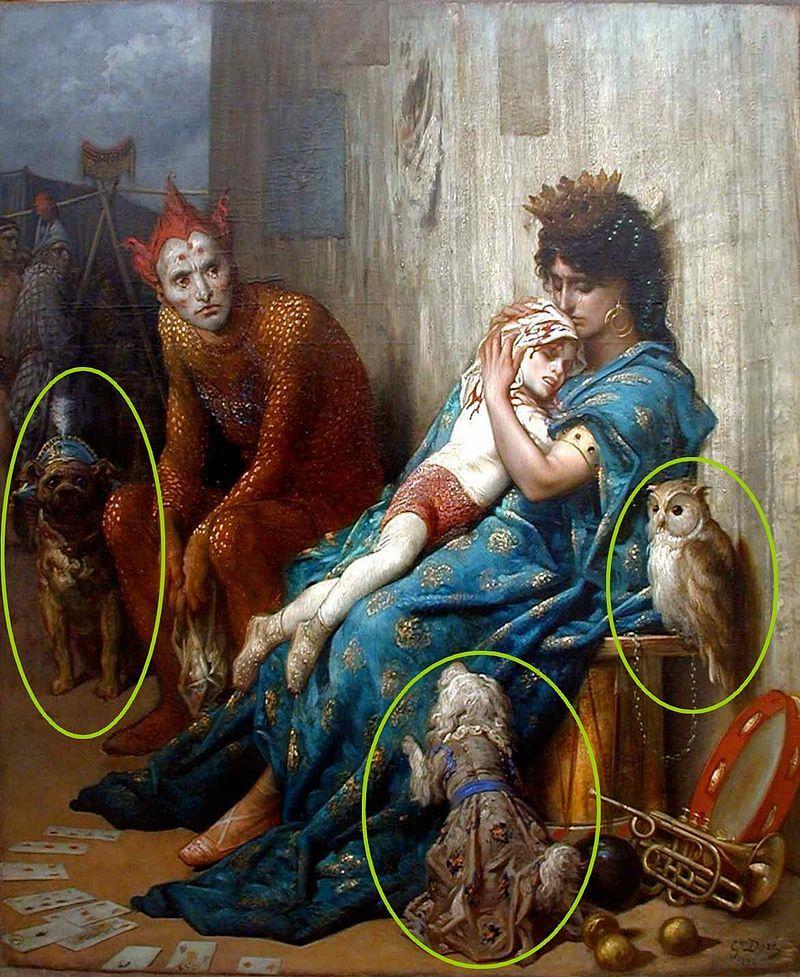 Gustave Doré La famille du saltimbanque, l'enfant blessé Семья акробата