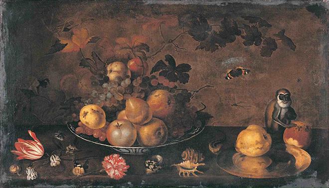 Ян Бауман. Цветы, фрукты и обезьяна.